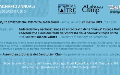 1° Colloquio Costituzionalistico Italo-Spagnolo – Roma, Venerdì  22 Marzo 2019, ore 11:00