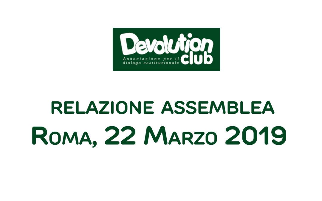 Relazione – Assemblea ordinaria – 22 Marzo 2019