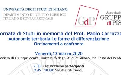 Giornata di studi in memoria del Prof. Paolo Carrozza – Autonomie territoriali e forme di differenziazione